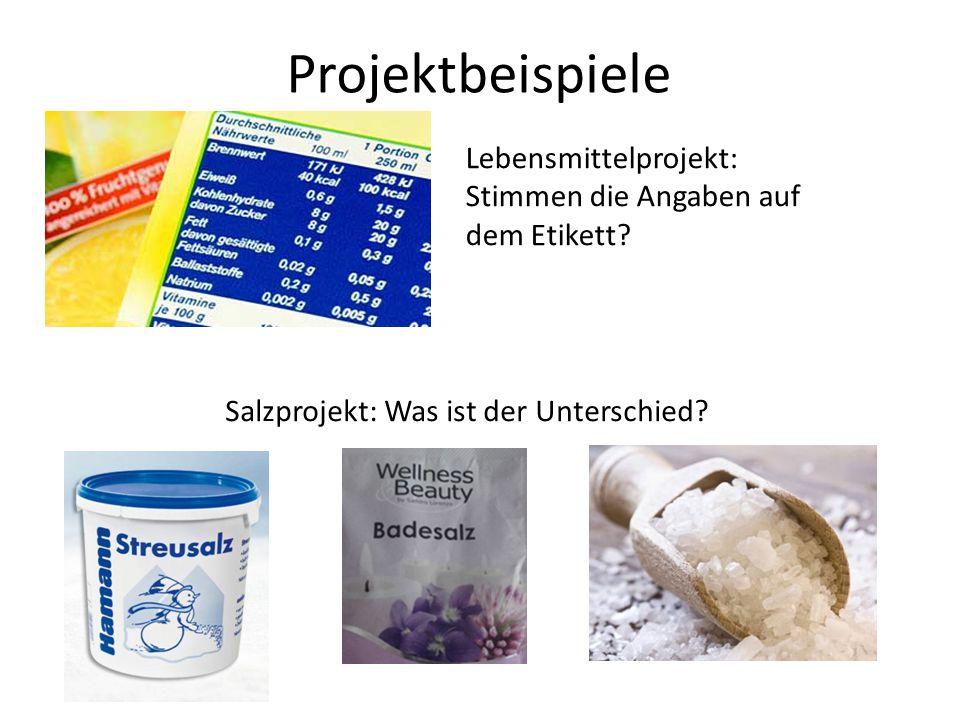 Projektbeispiele Lebensmittelprojekt: Stimmen die Angaben auf dem Etikett.