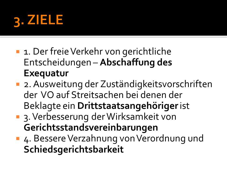 3. ZIELE 1. Der freie Verkehr von gerichtliche Entscheidungen – Abschaffung des Exequatur.