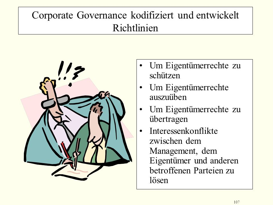 Corporate Governance kodifiziert und entwickelt Richtlinien