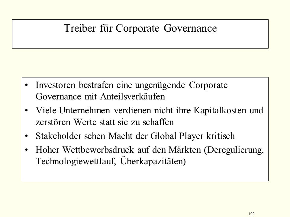 Treiber für Corporate Governance