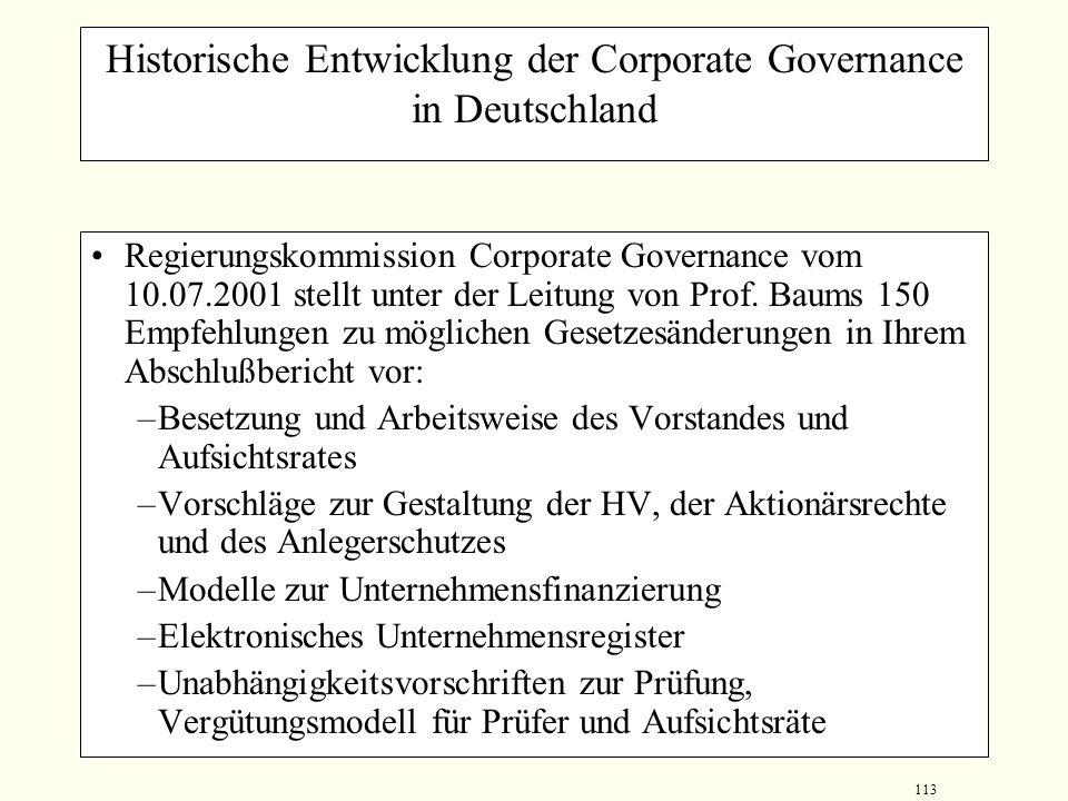 Historische Entwicklung der Corporate Governance in Deutschland