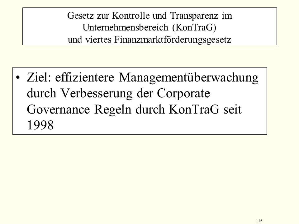 Gesetz zur Kontrolle und Transparenz im Unternehmensbereich (KonTraG) und viertes Finanzmarktförderungsgesetz