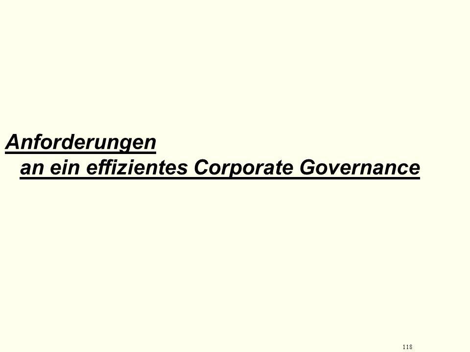 Anforderungen an ein effizientes Corporate Governance