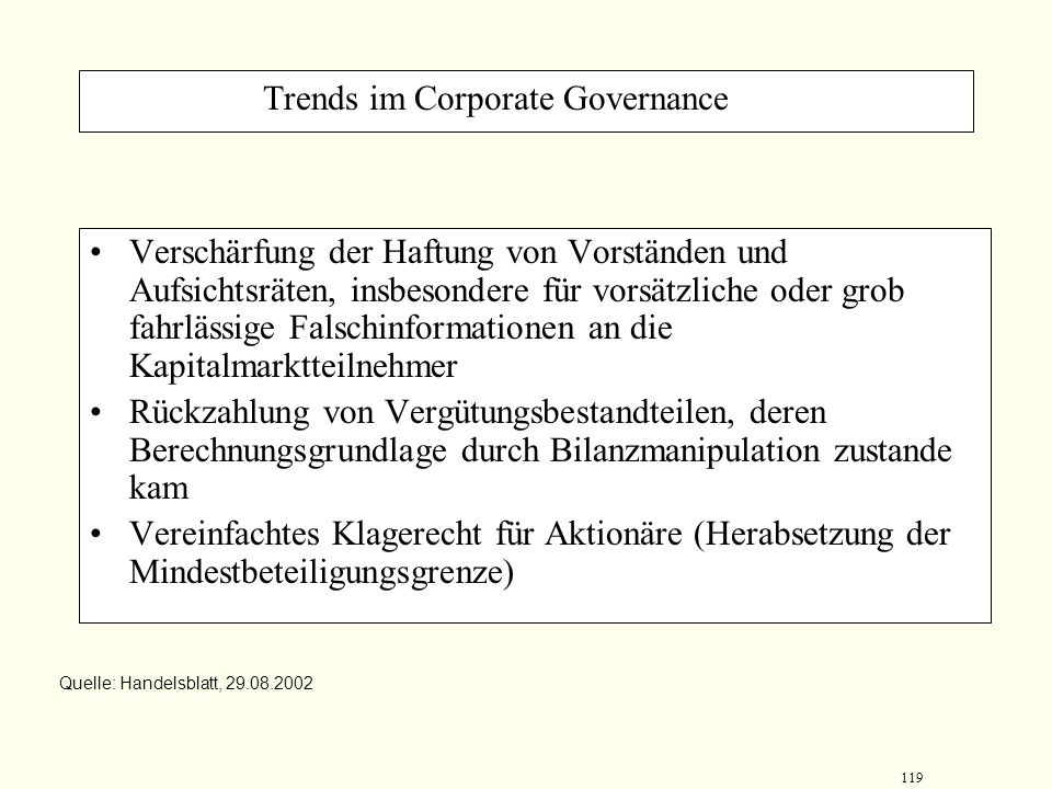 Trends im Corporate Governance
