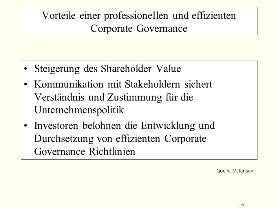 Vorteile einer professionellen und effizienten Corporate Governance
