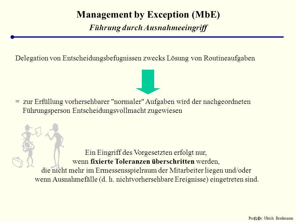 Management by Exception (MbE) Führung durch Ausnahmeeingriff