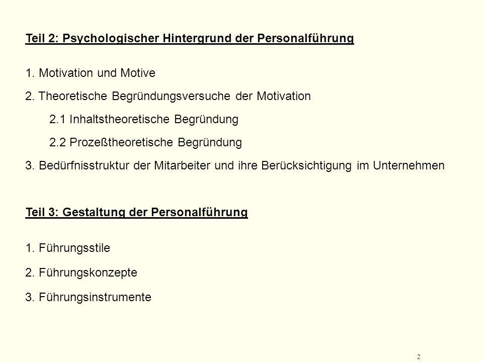Teil 2: Psychologischer Hintergrund der Personalführung