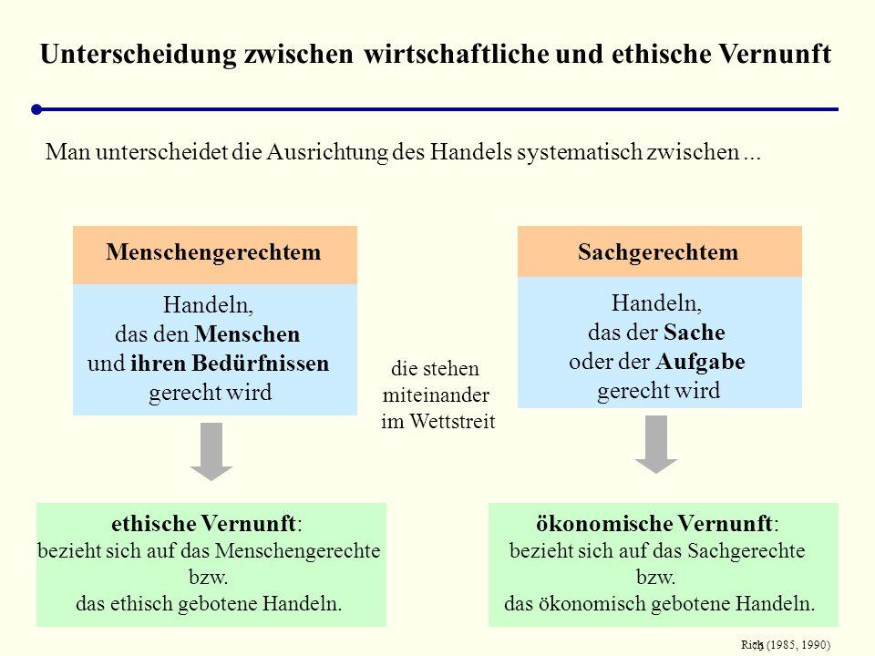 Unterscheidung zwischen wirtschaftliche und ethische Vernunft