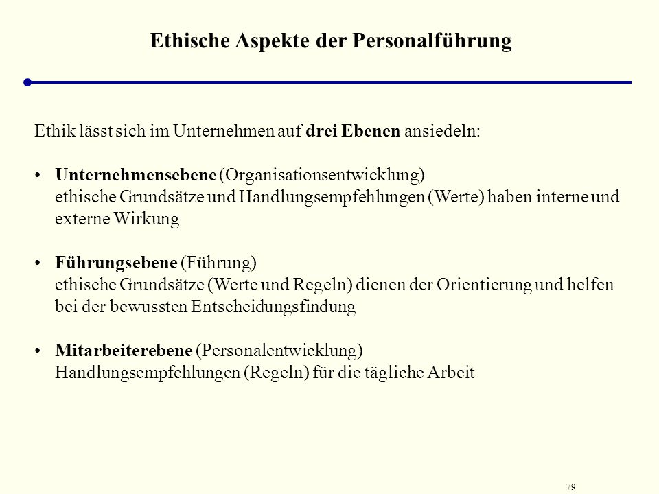 Ethische Aspekte der Personalführung