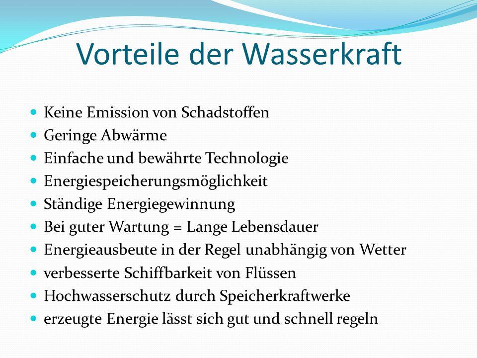 Vorteile der Wasserkraft