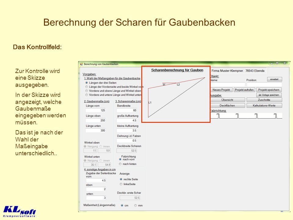 Berechnung der Scharen für Gaubenbacken