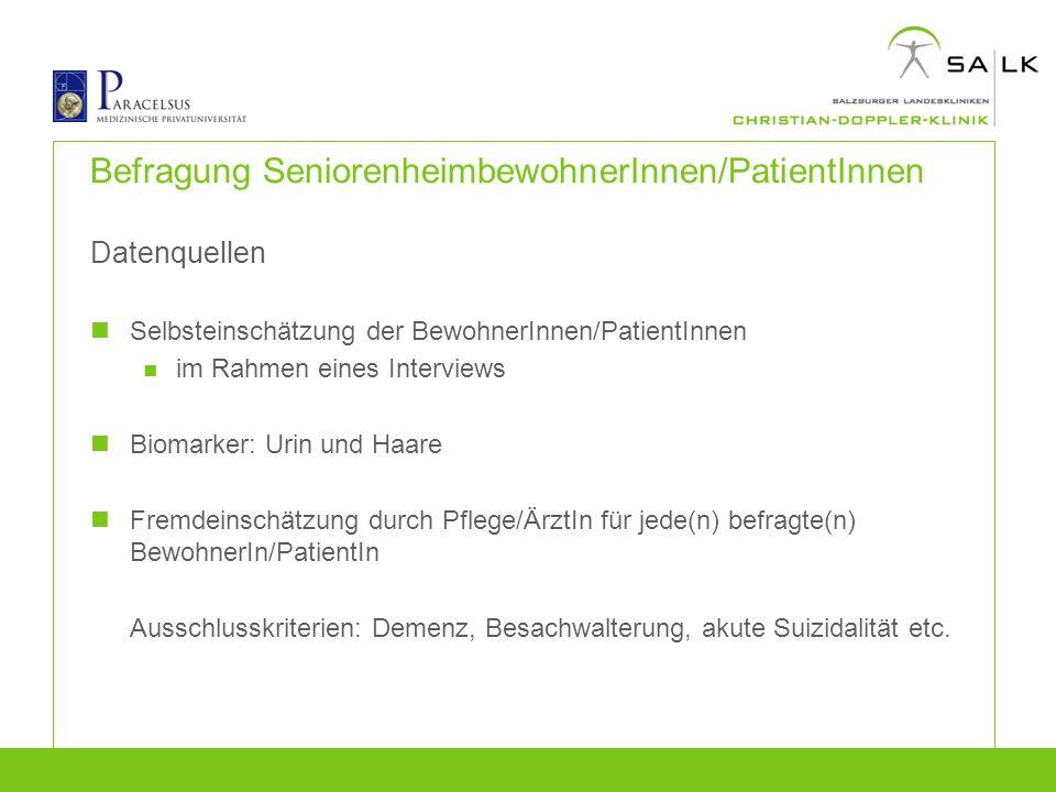 Befragung SeniorenheimbewohnerInnen/PatientInnen
