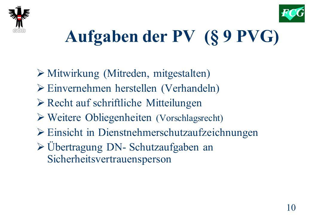 Aufgaben der PV (§ 9 PVG) Mitwirkung (Mitreden, mitgestalten)