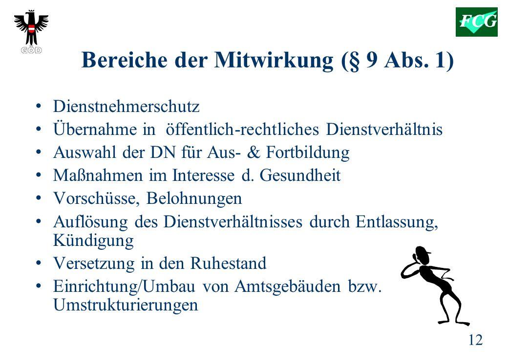 Bereiche der Mitwirkung (§ 9 Abs. 1)