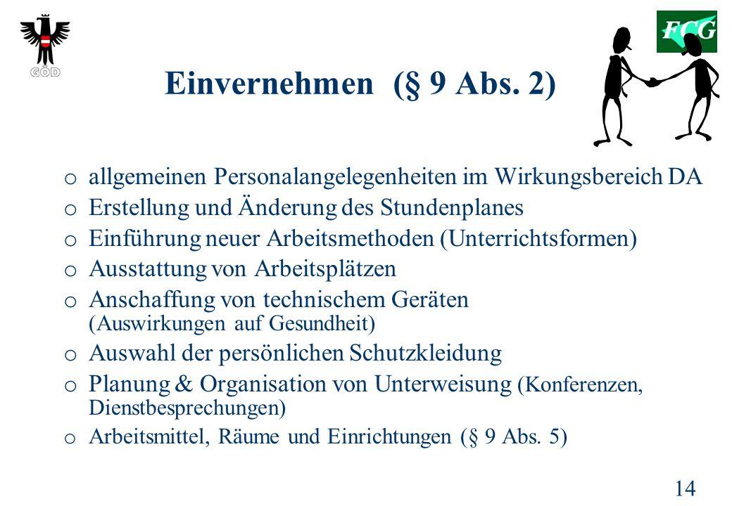 Einvernehmen (§ 9 Abs. 2) allgemeinen Personalangelegenheiten im Wirkungsbereich DA. Erstellung und Änderung des Stundenplanes.