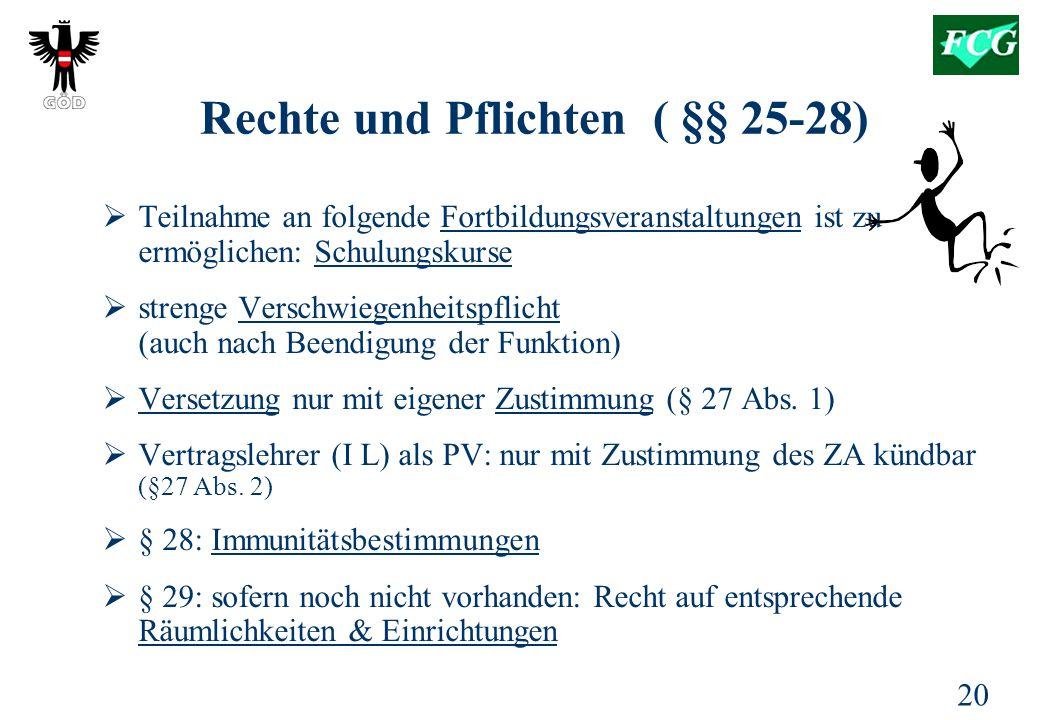 Rechte und Pflichten ( §§ 25-28)