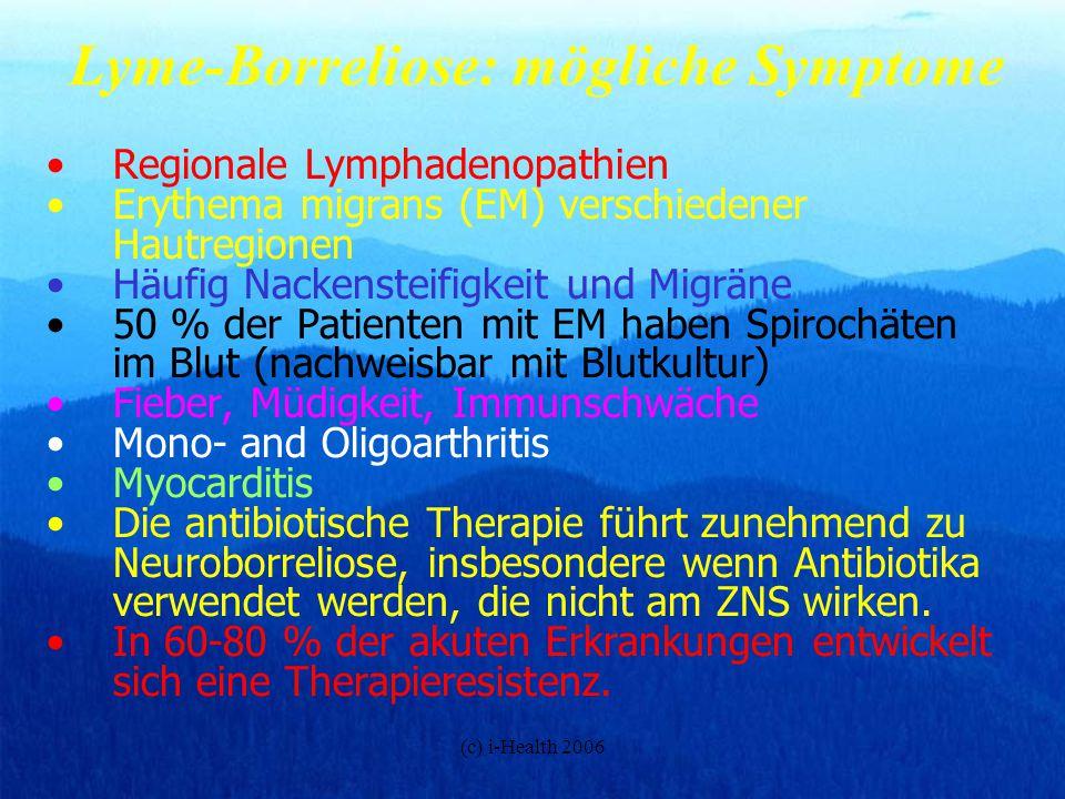Lyme-Borreliose: mögliche Symptome