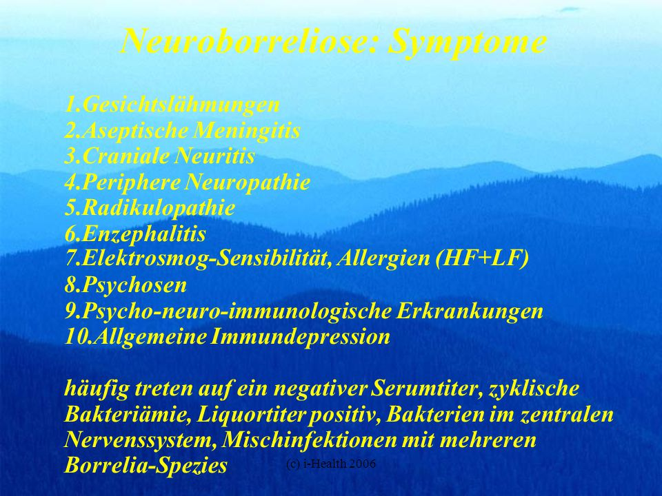 Neuroborreliose: Symptome