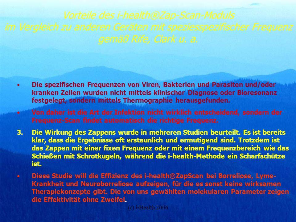Vorteile des i-health®Zap-Scan-Moduls im Vergleich zu anderen Geräten mit speziesspezifischer Frequenz gemäß Rife, Clark u. a.