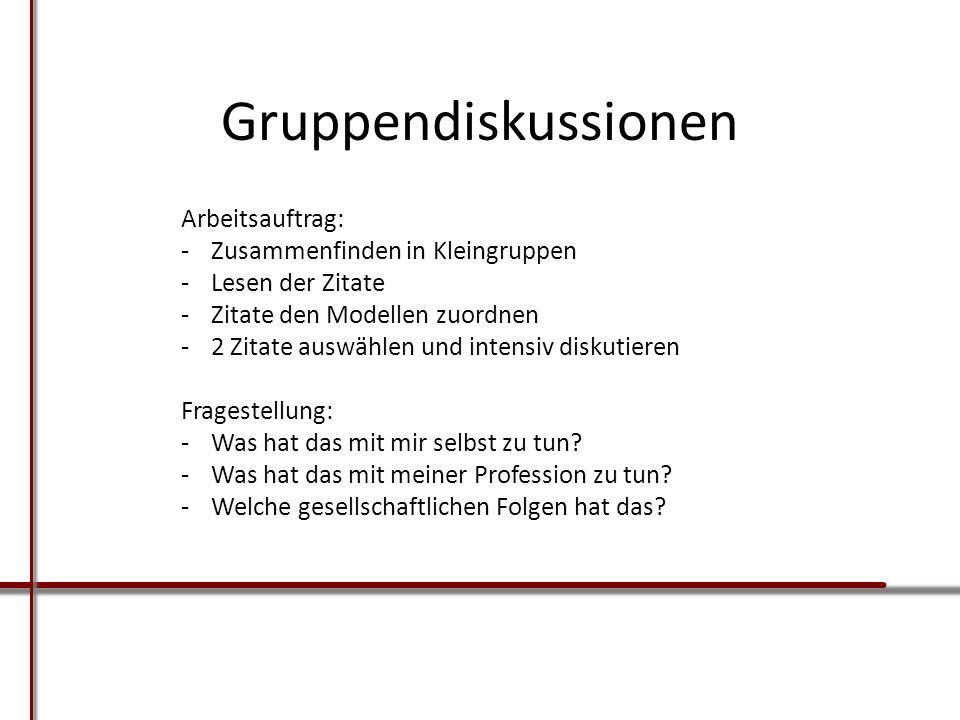 Gruppendiskussionen Arbeitsauftrag: Zusammenfinden in Kleingruppen