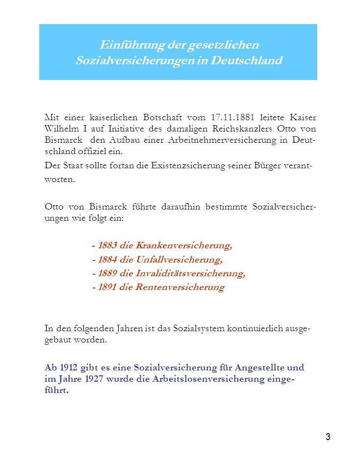 Einführung der gesetzlichen Sozialversicherungen in Deutschland