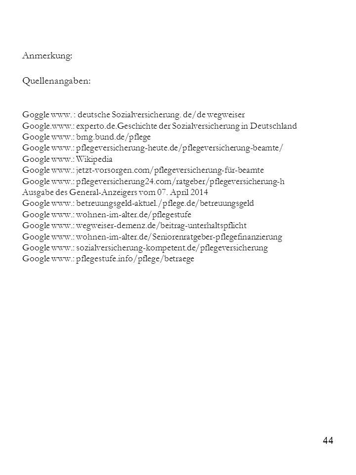 Anmerkung: Quellenangaben: Goggle www. : deutsche Sozialversicherung