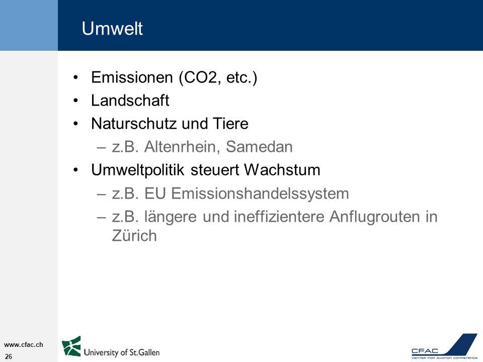 Umwelt Emissionen (CO2, etc.) Landschaft Naturschutz und Tiere