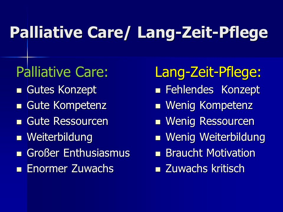 Palliative Care/ Lang-Zeit-Pflege