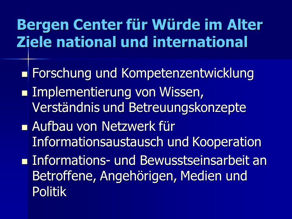 Bergen Center für Würde im Alter Ziele national und international