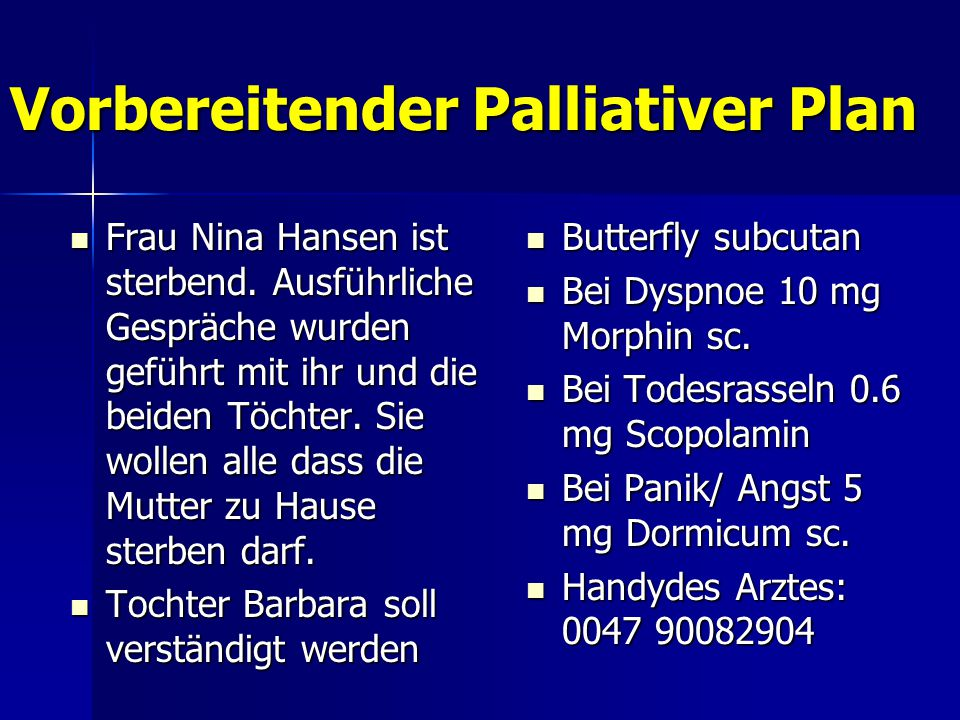 Vorbereitender Palliativer Plan