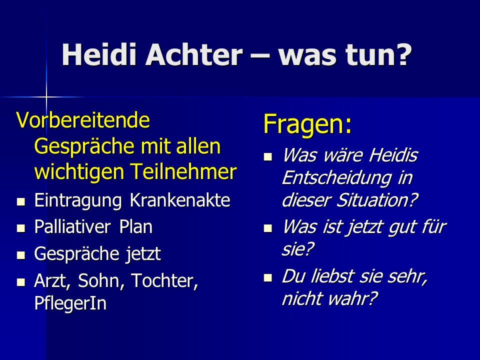 Heidi Achter – was tun Fragen: