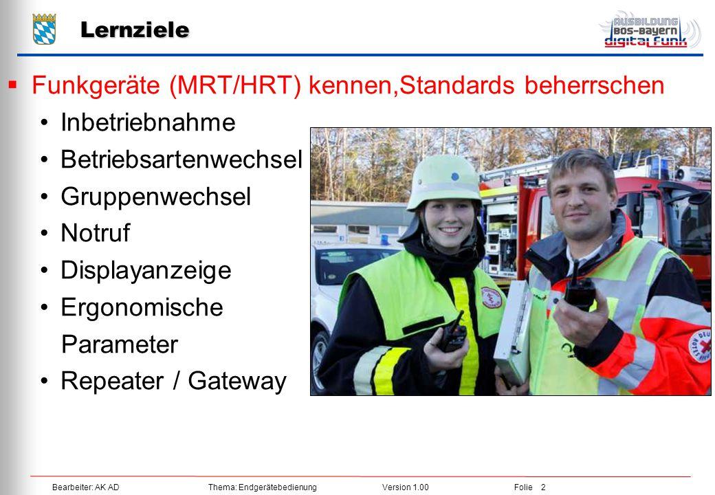Funkgeräte (MRT/HRT) kennen,Standards beherrschen Inbetriebnahme