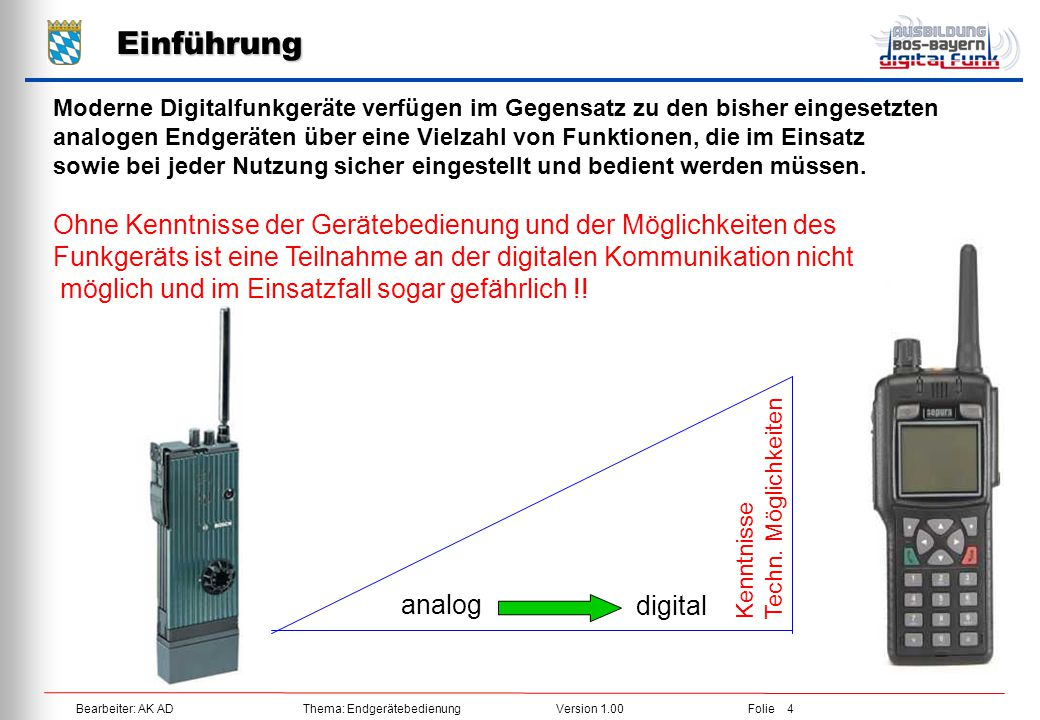 Einführung Moderne Digitalfunkgeräte verfügen im Gegensatz zu den bisher eingesetzten.