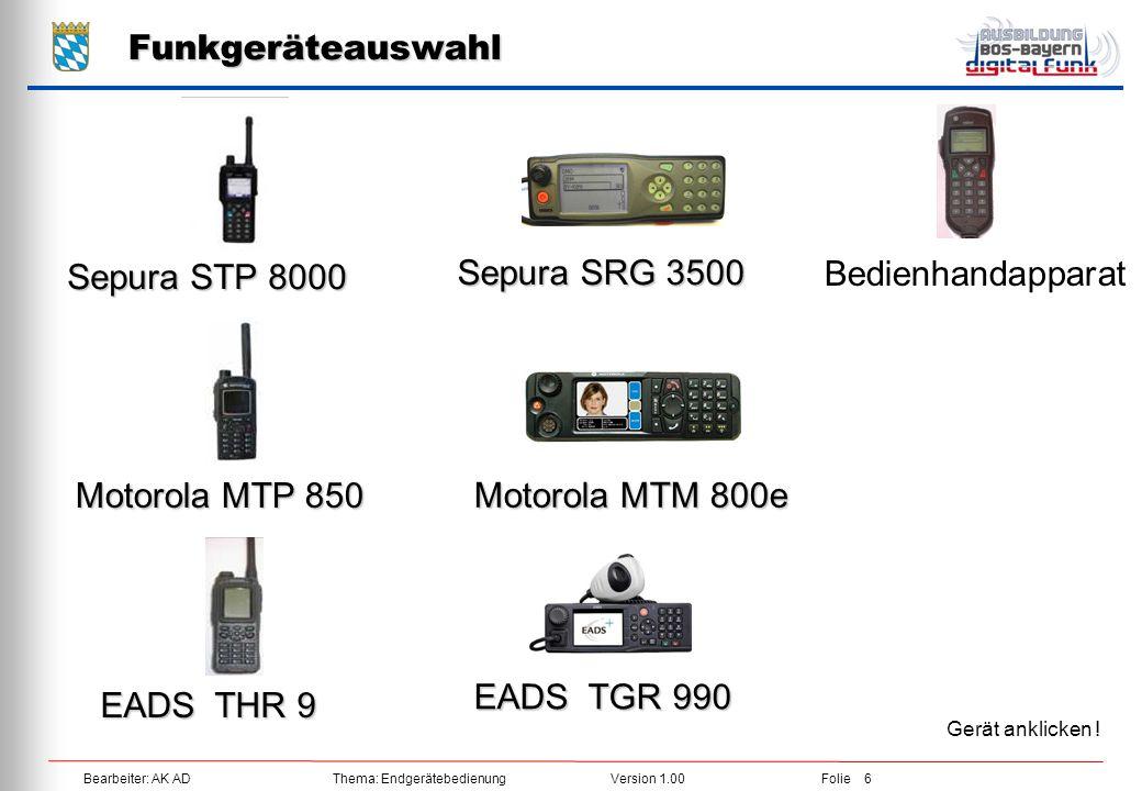 Funkgeräteauswahl Sepura STP 8000 Bedienhandapparat Sepura SRG 3500