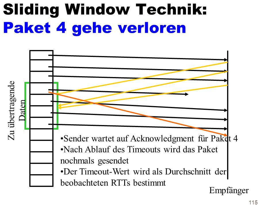 Sliding Window Technik: Paket 4 gehe verloren