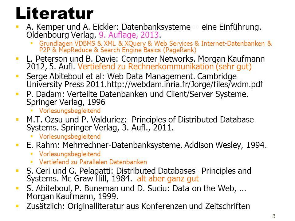 Literatur A. Kemper und A. Eickler: Datenbanksysteme -- eine Einführung. Oldenbourg Verlag, 9. Auflage, 2013.