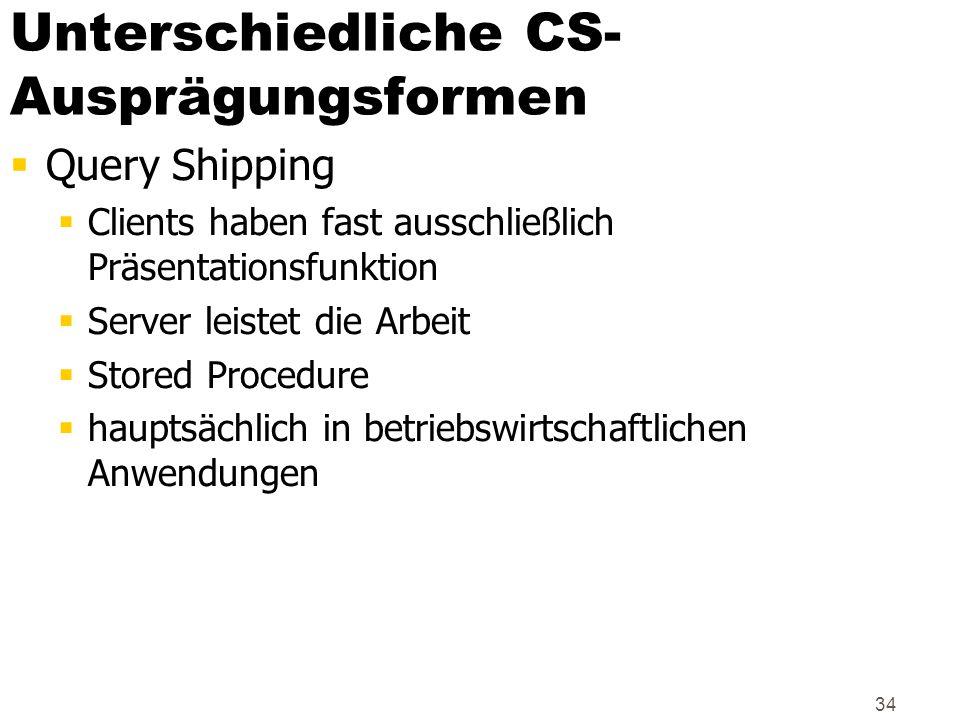 Unterschiedliche CS-Ausprägungsformen