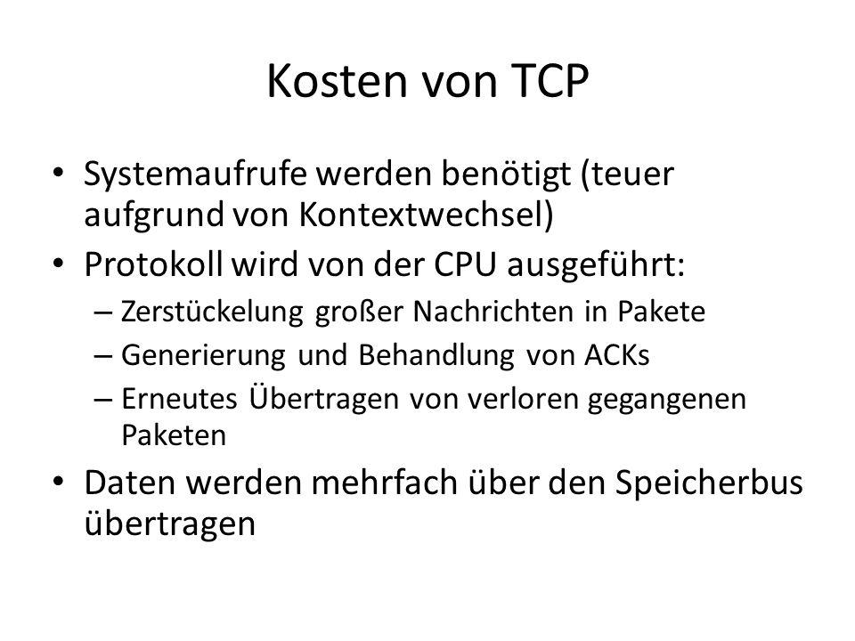 Kosten von TCP Systemaufrufe werden benötigt (teuer aufgrund von Kontextwechsel) Protokoll wird von der CPU ausgeführt: