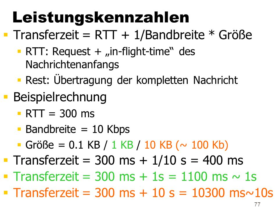 Leistungskennzahlen Transferzeit = RTT + 1/Bandbreite * Größe