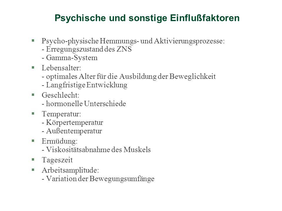 Psychische und sonstige Einflußfaktoren