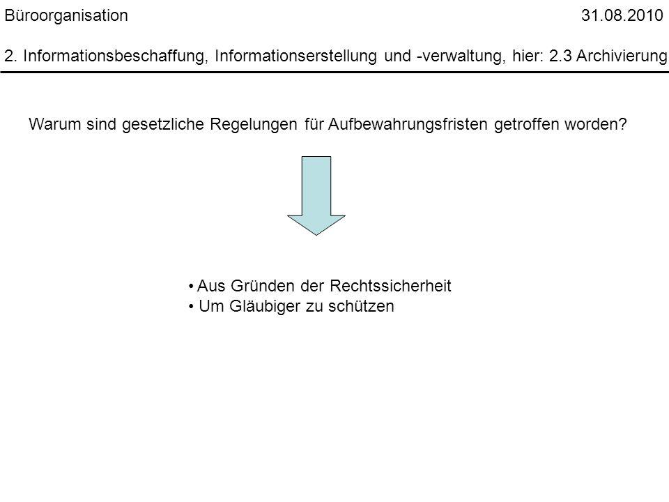 Büroorganisation 31.08.2010 2. Informationsbeschaffung, Informationserstellung und -verwaltung, hier: 2.3 Archivierung.