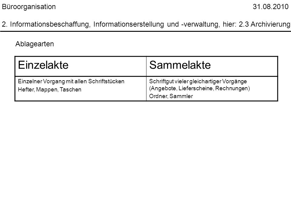 Einzelakte Sammelakte Büroorganisation 31.08.2010