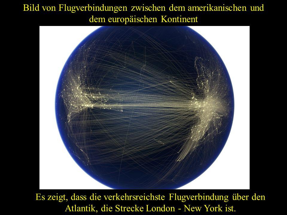 Bild von Flugverbindungen zwischen dem amerikanischen und dem europäischen Kontinent
