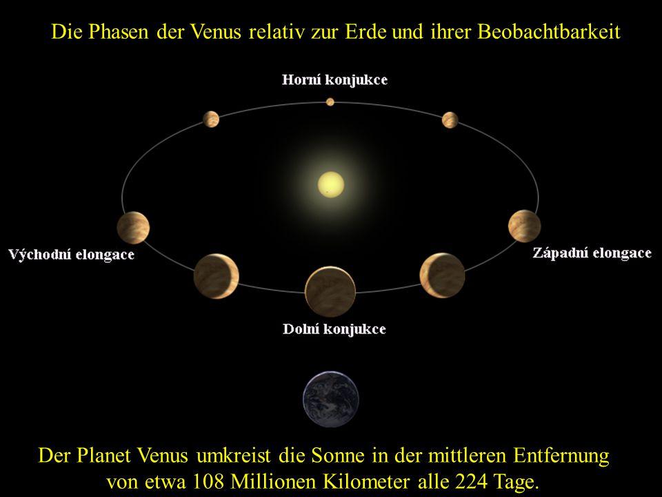 Die Phasen der Venus relativ zur Erde und ihrer Beobachtbarkeit