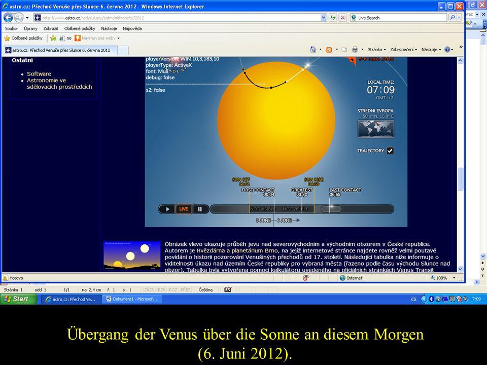 Übergang der Venus über die Sonne an diesem Morgen (6. Juni 2012).