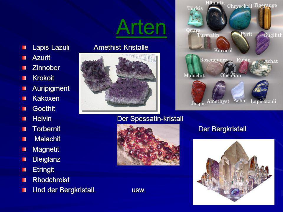 Arten Lapis-Lazuli Amethist-Kristalle Azurit Zinnober Krokoit