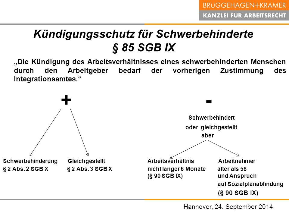 Kündigungsschutz für Schwerbehinderte § 85 SGB IX