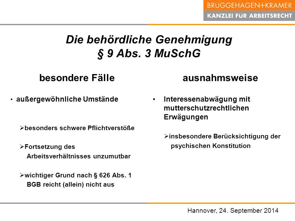 Die behördliche Genehmigung § 9 Abs. 3 MuSchG