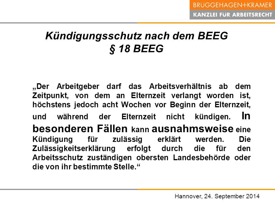 Kündigungsschutz nach dem BEEG § 18 BEEG