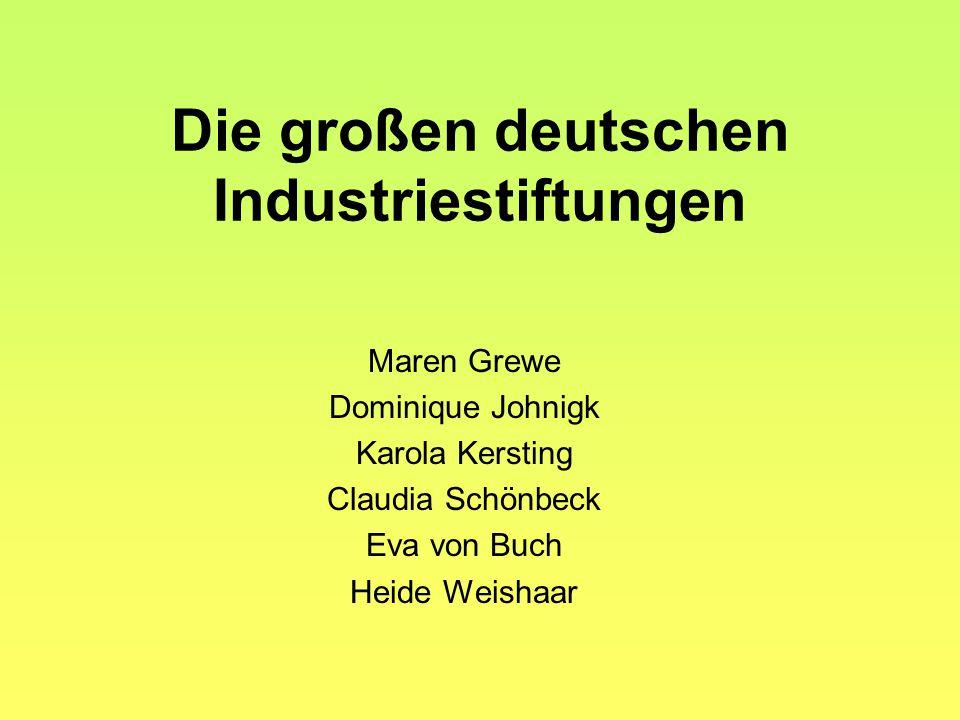Die großen deutschen Industriestiftungen